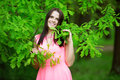 Young Spring Fashion Woman. Trendy Girl In The Flowering Trees I Royalty Free Stock Images - 55936839