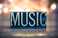 Music Concept Metal Letterpress Type Royalty Free Stock Image - 55940106