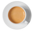 Coffee Cup And Saucer Top View Isolated On White Stock Image - 55955381