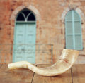 Shofar (horn) On Wooden Table. Rosh Hashanah (jewish Holiday) Concept . Traditional Holiday Symbol. Stock Image - 55955881