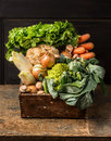 Fresh Organic Vegetables From Garden In Old Rustic Wooden Box Royalty Free Stock Image - 55978776