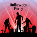 Halloween Party On A Spooky Graveyard Royalty Free Stock Images - 55990349