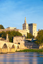 Avignon Bridge With Popes Palace And Rhone River At Sunrise Stock Photography - 56011202