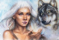 Woman Portrait With Ornament Tattoo On Face With Spiritual Wolf And Feathers Jewelry. Painting. Stock Photos - 56013713