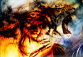 Woman Portrait With Spiritual Fire Tiger On Space, Color Painting Collage Stock Photography - 56013742