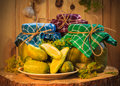 Jars Pickled Gherkins Wooden Table Royalty Free Stock Images - 56022199