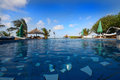 VIEW FROM THE SWIMMING POOL TO THE BEACH Royalty Free Stock Photo - 56027225