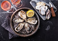 Opened Oysters And Rose Wine Stock Image - 56028351