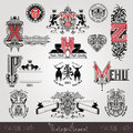 Set Vintage Heraldic Labels Or Badges With Capital Letter With Pattern And Animals Stock Photos - 56034613