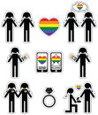 Gay Women  Falling In Love And Engagement Icons Set With Rainbow Element Royalty Free Stock Images - 56057639