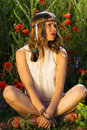 Fashionable Girl In The Summer Field Royalty Free Stock Image - 56062466
