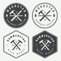Set Of Vintage Carpentry And Mechanic Labels, Emblems And Logo Royalty Free Stock Image - 56077366