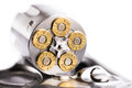 Macro Shot Of An Open Revolver Loaded With Bullets Stock Photography - 56087602