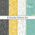 Patterns Sea Summer Hipster Hand Drawn Seamless Patterns Set Royalty Free Stock Photography - 56106057