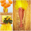 Collage In Yellow Tones Of Beautiful Young Woman On Summer Wheat Field Royalty Free Stock Photos - 56134268
