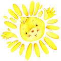 Cartoon Sun And The Sun S Rays Watercolor Illustration Royalty Free Stock Photo - 56149075