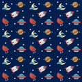 Seamless Space Pattern With Rockets, Planets, Stars, Scopes,moon, Observatory And Others Equipments Royalty Free Stock Photography - 56150977