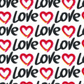 Vector Seamless Pattern, Hand Drawn Word Love And Red Heart Stock Photography - 56156272