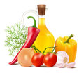 Still Life In Vegetables And Vegetable Oil Stock Image - 56159781