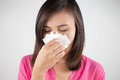 Flu Cold Or Allergy Symptom. Sick Woman Girl Sneezing In Tissue Stock Photos - 56160893