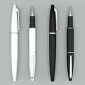 White And Black Ball Pens Mockup On Bright Bacground Royalty Free Stock Images - 56172859