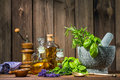 Mortar With Herbs Royalty Free Stock Photography - 56175777
