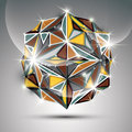 3D Gold Shiny Sphere. Vector Fractal Dazzling Abstract Royalty Free Stock Photography - 56192217