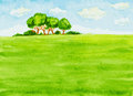 Watercolor Landscape With Trees, Green Field And Sky Royalty Free Stock Photo - 56192725