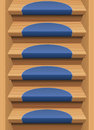 Wooden Stairs Treads Mats Blue Endless Stock Photos - 56201773