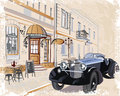 Series Of Vintage Backgrounds Decorated With Retro Cars And Old City Street Views. Royalty Free Stock Images - 56210679