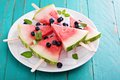 Fresh Watermelon Popsicles With Blueberries Royalty Free Stock Image - 56225816
