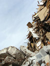 Wood,concrete Rubble And Twisted Metal Skyline On A Demolition S Royalty Free Stock Images - 56228829