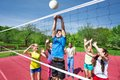 Teens All Are With Arms Up Play Volleyball Royalty Free Stock Photography - 56231697