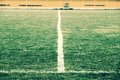 Cross Of Painted White Lines On Natural Football Grass. Artificial Green Turf Texture. Royalty Free Stock Photo - 56234985
