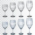 Set Of Empty Transparent Glass Goblets For Wine Royalty Free Stock Photos - 56243048