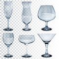 Set Of Empty Transparent Glass Goblets For Different Drinks Stock Images - 56243904