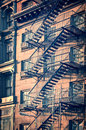 Outside Metal Fire Escape Stairs, New York City Stock Photography - 56256652