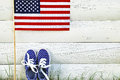American Childrens Sneakers And United States Of America Flag. Stock Photos - 56260613