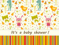Colorful Baby Shower Background With Animals And Flowers. Stock Photography - 56272472
