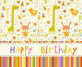 Colorful Baby Shower Background With Animals And Flowers. Stock Photography - 56272502