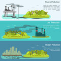 Vector Landscape With Air, Ocean Pollution Stock Photography - 56273572