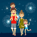 Happy Family Fireworks Royalty Free Stock Photography - 56277707