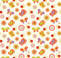 Seamless Baby Background With With Bees, Butterflies, Snails And Flowers Royalty Free Stock Photography - 56279317