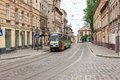 Street In The Old Town With Tram On It Stock Photo - 56284410