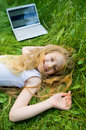 Funny Little Girl With Laptop Outside Stock Photography - 5632842