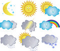 Collection  Icons With The Weather Phenomena Royalty Free Stock Photography - 5637767