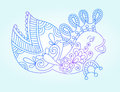 Blue Line Drawing Of Sea Monster, Underwater Royalty Free Stock Photography - 56305527
