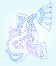 Blue Line Drawing Of Sea Monster, Underwater Royalty Free Stock Image - 56306006