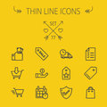 Business Shopping Thin Line Icon Set Royalty Free Stock Photography - 56311357