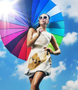 Fashionable Photo Of A Young Woman With A Colorful Umbrella Royalty Free Stock Photos - 56378008